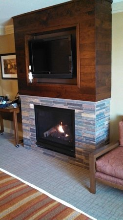 Hotel Abrego: The gas fireplace and 50 inch LG flatscreen.
