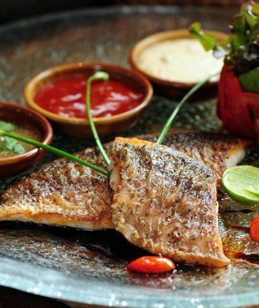 Dining on the hill: Grilled seabass