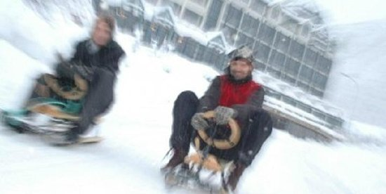 Hotel Union Geiranger: Experience the thrills of sledging down a snowy, traffic-free road