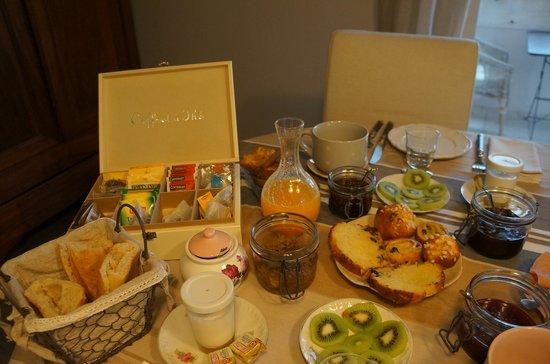 Le Clos du Jas : le copieux et delicieux petit déjeuner