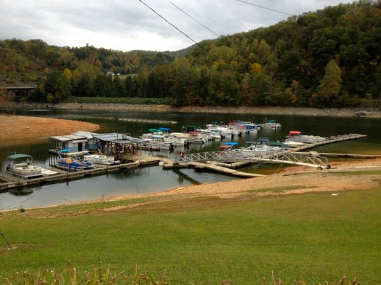 Almond Boat and RV Park: Boat dock area.  Summer water level is much higher