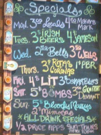 Black Rose Pub: Daily Drink Specials