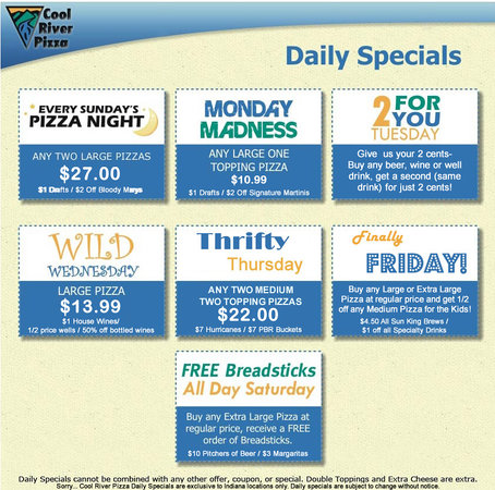 Coupons cool river pizza