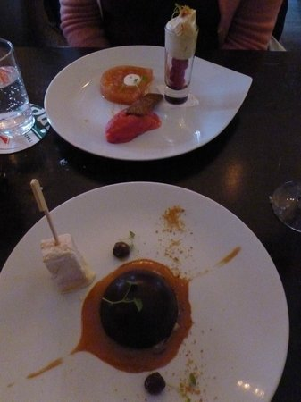 Het Vermeertje: Chocolate bombe and Terrine of rhubarb and vanilla