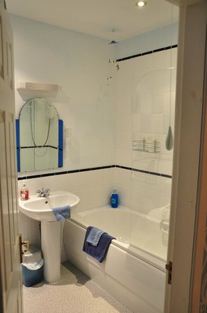 Pitmilly West Lodge: Bathroom with shower and bath