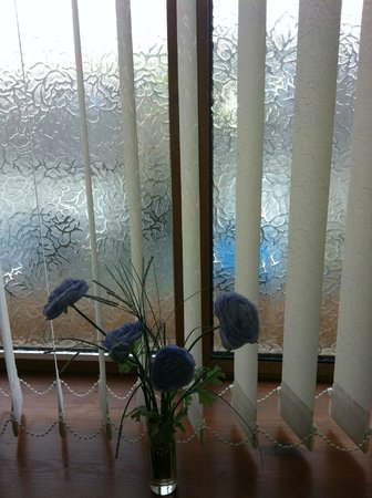 Castle Lodge B&B: Frosted glass in the window and plastic flowers