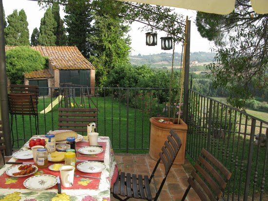 I Moricci: a breakfast table in our terrace