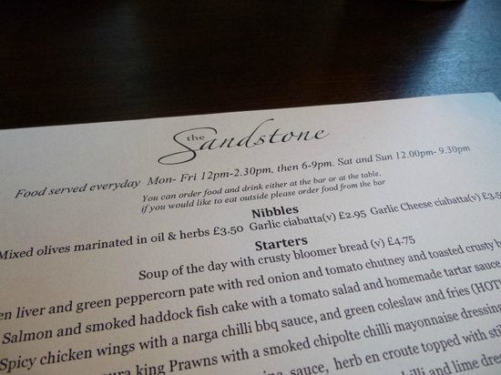 The Sandstone: Menu