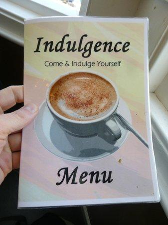 Indulgence Cafe: Menu cover