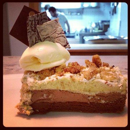 Mechela Restaurante: Tarta de pistacho y chocolate