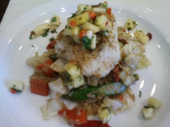 Twist Eatery: Ling Cod with Pineapple Salsa