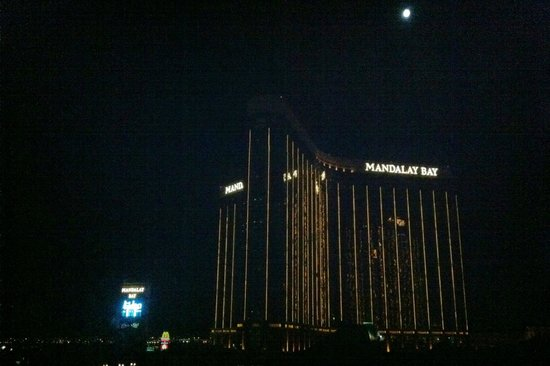 Luxor Las Vegas: view of Mandalay Bay from our room (night)