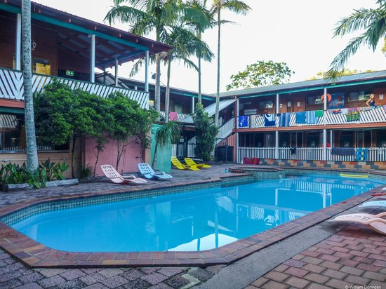 The Arts Factory Backpackers Lodge: pool and main building with dorm rooms