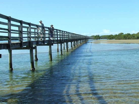 Urunga, Australie : Walking across the lagoon