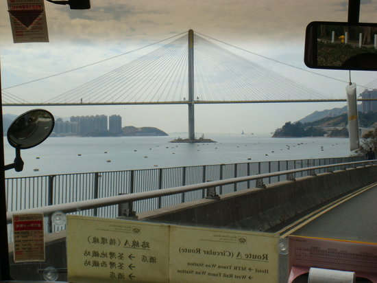 Royal View Hotel [subsidiary of Sunhung Kai Properties Ltd]: View of bridge from inside the hotel