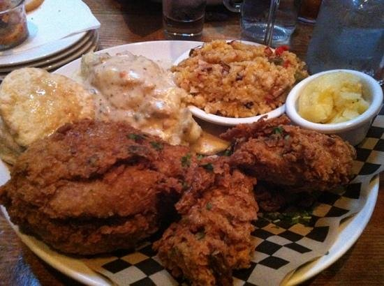 The Porch Restaurant and Bar: fried chicken with limpin Susan and Yukon mash and gravy