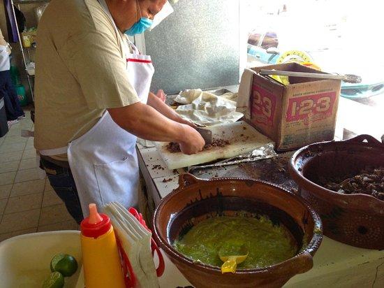 El Rey Del Taco: preparing carne asada