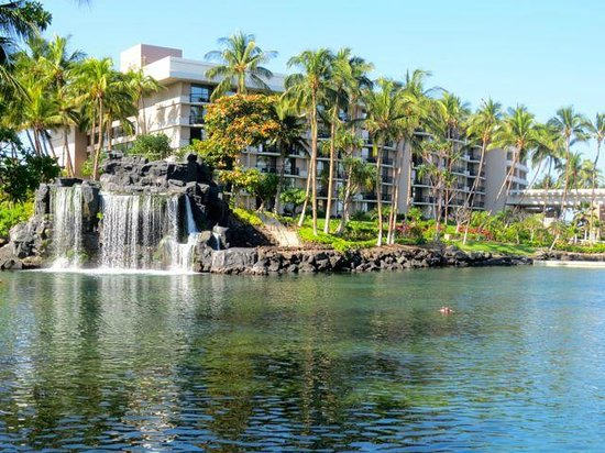 Hilton Waikoloa Village: The amazing manmade lagoon. We kayaked around here and swam with turtles under that waterfall th