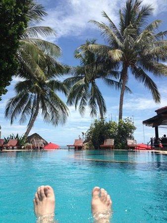 Suneast Bungalows : Pool mit Meerblick