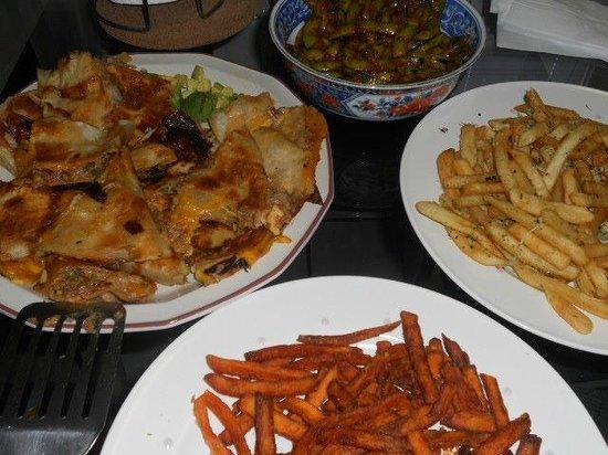 The Standing Room: edamame/K-della/sweet potato fries/truffle fries