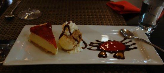 Red Crab Thai Restaurant : berry cheesecake, choc sorbet and amaretto coulis - yum