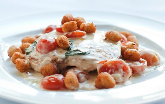 Mancini: Chicken breast in cream, parmesan, basil and Tabasco sauce