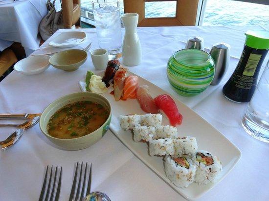 Peohe's: Sushi platter, miso, sake