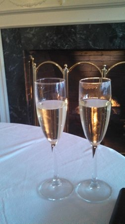 Champagne on our anniversary night.  Dinner at The Wentworth in front of the fire.