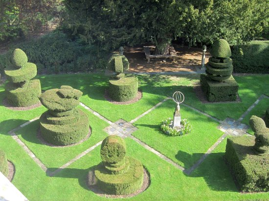 Madingley Hall: the topiary garden from our bedroom window