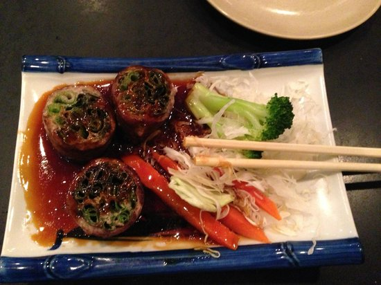 Sono Sushi Japanese Restaurant: Beef Negimaki appetizer. I ate two pieces before taking this picture.