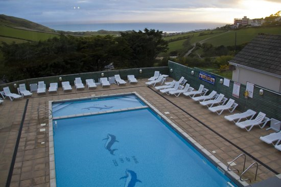 Woolacombe Sands Holiday Park: Overlooking the heated outdoor pool