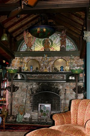 Land's End Inn: The field stone fireplace - a great gathering place....