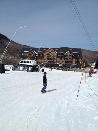 The Tram Haus Lodge at Jay Peak Resort : View of the hotel from the ski slope... it's that close!