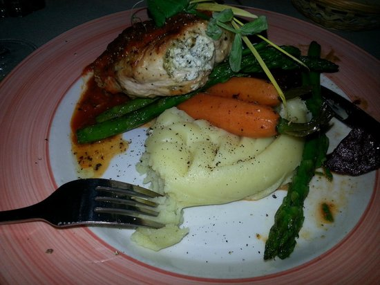 St Tropez Bistro: herb roasted chicken breast stuffed w/ spinach and goat cheese