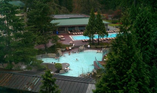 Harrison Hot Springs Resort & Spa: two of the hot springs on the property as seen from our room