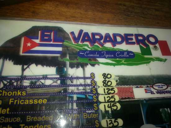 Mia Reef Isla Mujeres: Menu at El Varadero Cuban Restaurant - Try the guac and sweet potatoes