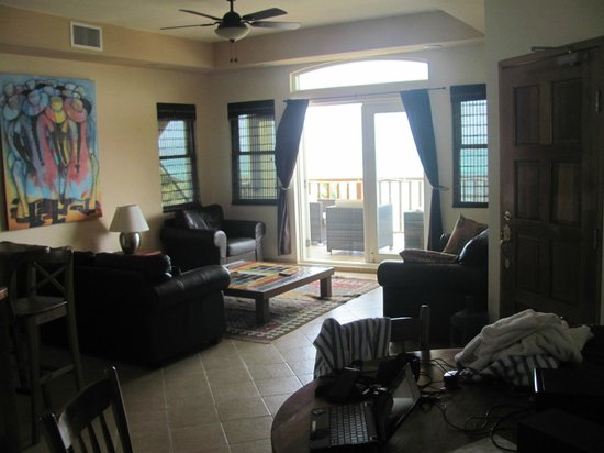 CayeReef: Looking on Living Room to Front Balcony