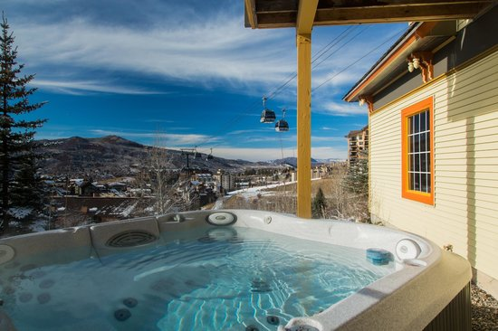 The Victorian: The hot tub offers a view of Steamboat and the Yampa Valley