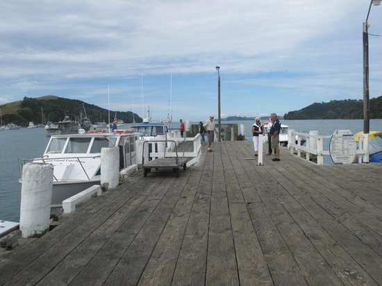 The wharf at Sandspit.  The Cafe Sandspit is located on the wharf.