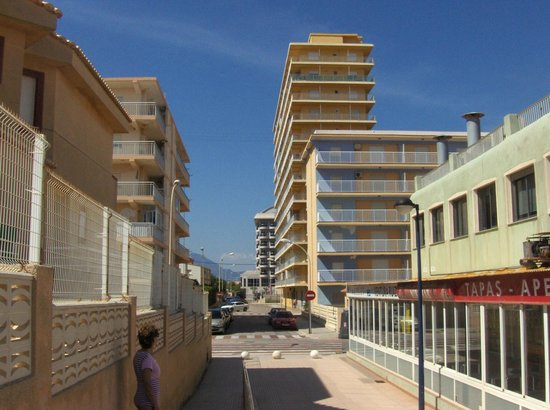 Playa Miramar: Desde el paseo el hotel al fondo.