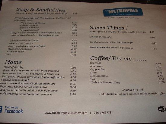Metropole hotel: Menu