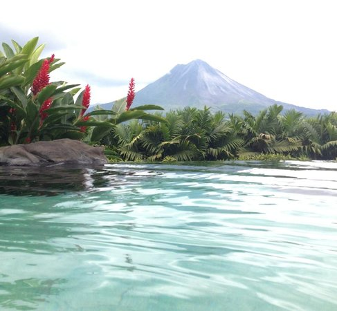 The Springs Resort and Spa: View of the Volcano from the bar side pool