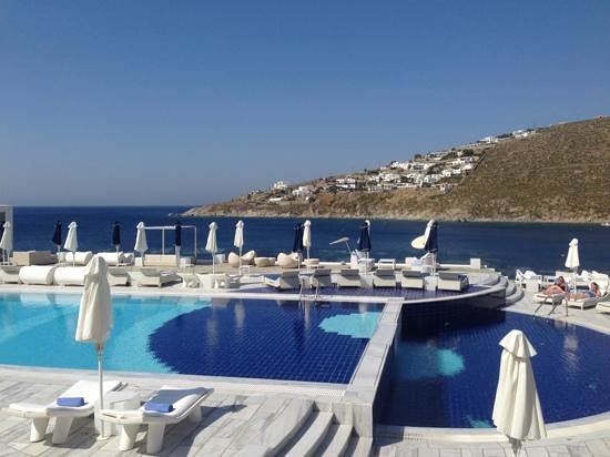 Petasos Town Hotel: The awesome pool and view at the sister hotel, Petasos Beach Hotel