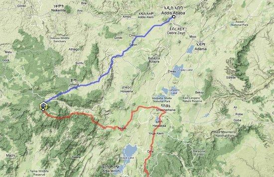 Bonga, Etiyopya: Guesthouse Map