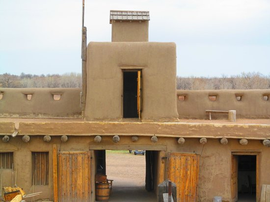Bent's Old Fort National Historic Site: Guard tower above the main gate.
