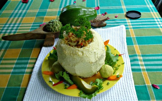 Rodney's Wellness Retreat: Stuffed Breadfruit with salt fish and avocado.