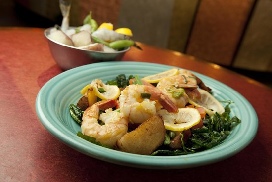 Fire and Ice: Shrimp with potatoes and spinach