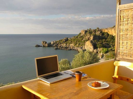 Aktaia Studios : My balcony workstation! and breakfast.