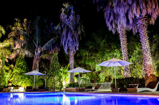 Windmills Break: Swimming Pool at night