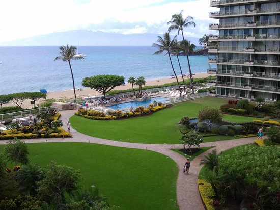 Aston at The Whaler on Kaanapali Beach: view of the grounds & pool between the towers
